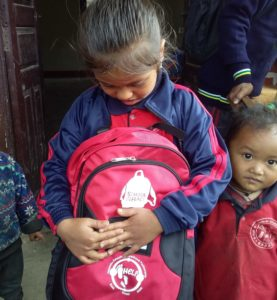 Girl with SchoolBag in Nepal